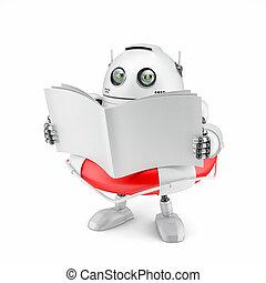 robot, czytanie, manual.