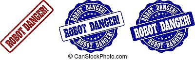 ROBOT DANGER! Grunge Stamp Seals