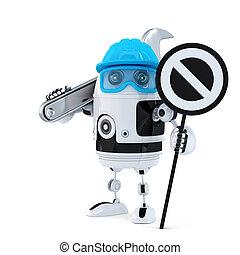 robot, de arbeider van de bouw, met, moersleutel, en, stopteken