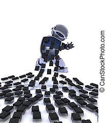 Robot defending against virus attack - 3D Render of a Robot...
