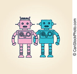 robot design over pink background vector illustration