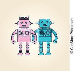robot design over pink background vector illustration