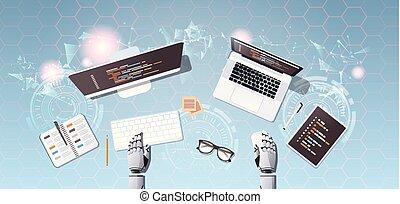 robot developer at workplace web site design development program coding concept top angle desktop view robotic humanoid using digital devices horizontal