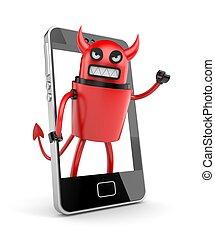 Robot devil with smartphone