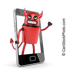 Robot devil with smartphone