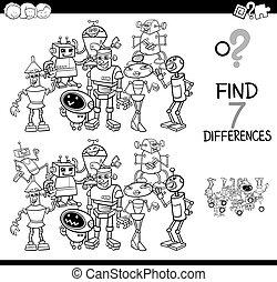 robot, différences, jeu, livre coloration