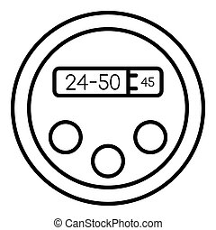 Robot digital clock icon, outline style