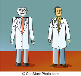 Robot Doctor and Human Doctor - A cartoon robot doctor...