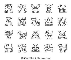 Robot Dog simple black line icons vector set