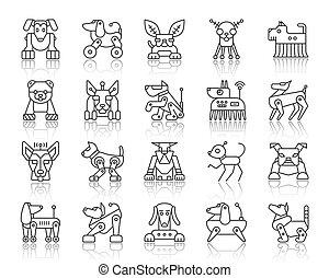 Robot Dog simple black line icons vector set