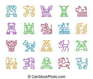 Robot Dog simple color line icons vector set