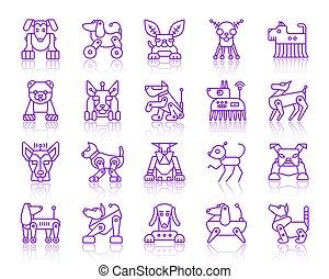 Robot Dog simple ultraviolet line icons vector set