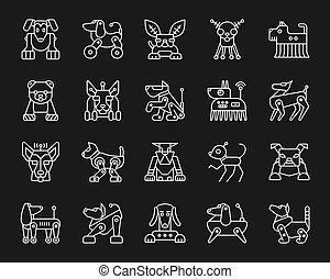 Robot Dog simple white line icons vector set