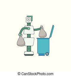 Robot doing housework - android taking out trash isolated on white background.