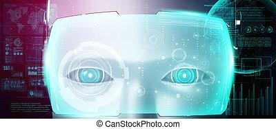 robot, données, humanoïde, figure, analytic, concept, grand, grand plan, graphique