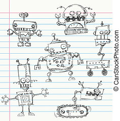 Robot doodles on a notebook paper