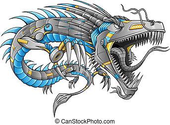 robot, dragón, vector, cyborg