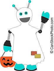 Robot dressed as ghost holding pumpkin waving - Halloween...