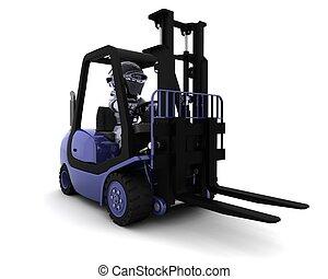 Robot Driving a Lift Truck - 3D Render of Robot Driving a...