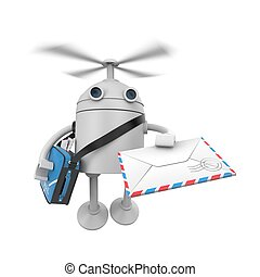 Robot drone delivery of letters. 3d illustration