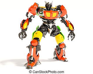 robot - electric transformer on white background