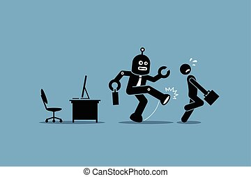 Vector artwork depicts automation, future concept, artificial intelligence, and robot replacing mankind.