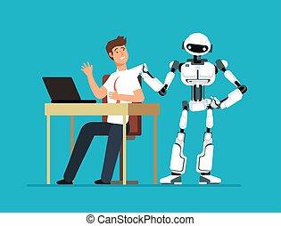 Robot employee kicks away human worker from workplace. Artificial intelligence, man replacement, future jobless vector concept