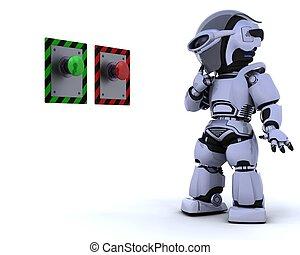 robot, et, bouton poussée