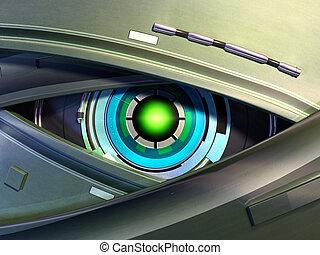 Robot eye - Close-up on a robotic eye. Digital illustration.