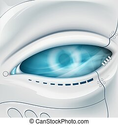 Robot Eye. Mechanical face.