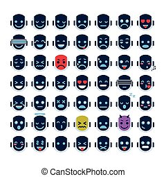 Robot Face Icons Set Smiling Faces Different Emotion...