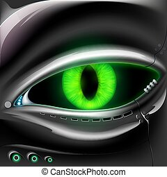 Robot face with cat green eyes.