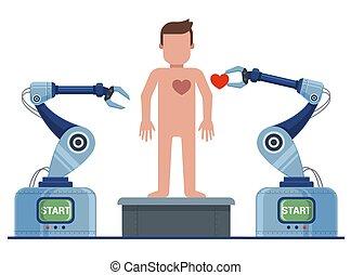 robot, feléleszt, conveyor., man., alkotás, ember