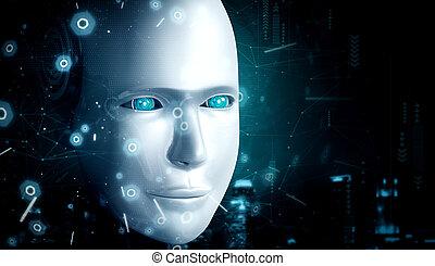 robot, fin, pensée, haut, ai, cerveau, figure, graphique, concept, humanoïde