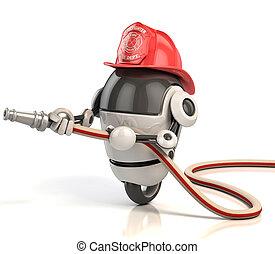 robot firefighter 3d illustration