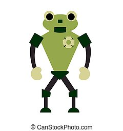 Robot flat character. Isolated stock vector illustration