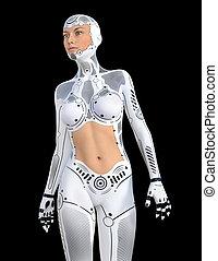 robot, fond, isolé, noir, humanoïde
