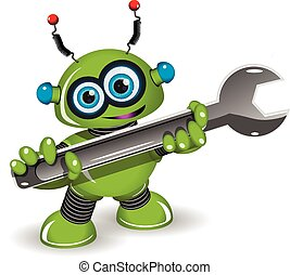 Illustration a cheerful green robot for repairs