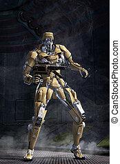 robot, futurista, soldado