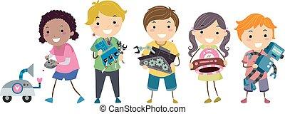 Robot Gamers Stickman Kids Illustration