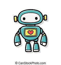robot, griffonnage