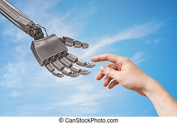 Robot hand and human hand are touching. Artificial intelligence and cooperation concept.