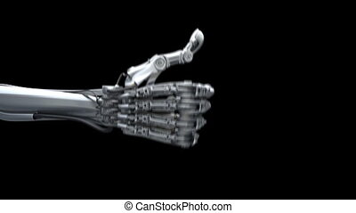 Robot hand. Counting from 1 to 5.