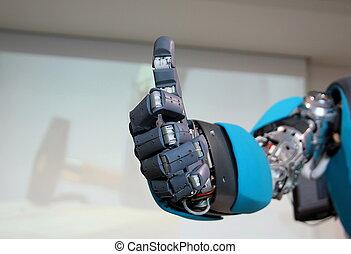 Robot hand gesture meaning okay - Hi-tech robot hand gesture...