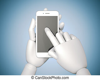 Robot hand holds a black smartphone on blue background. 3d rendering