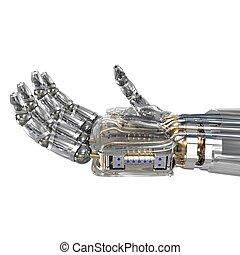 robot, hand houdend, denkbeeldig, voorwerp