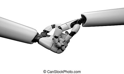3D rendering robot hand action on white and green background. Concept of AI artificial intelligence and machine learning.