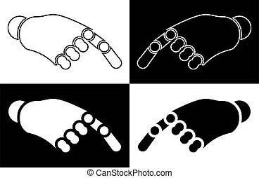 Robot hand points a finger. The icon. Isolated vector on white and black background