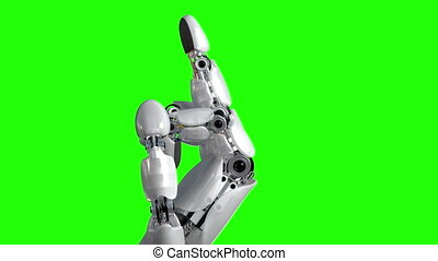 Robot Hand Shows Middle Finger Fuck You on a Green...