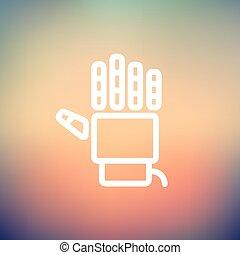 Robot hand thin line icon